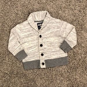 Boys OshKosh marled gray sweatshirt cardigan